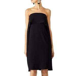 (TRINA TURK) 'Genuis' Popover Cape Black Dress